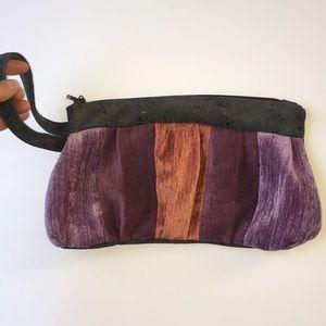 Fabric Boho Clutch Sm Purse Wristlet Bag Purple
